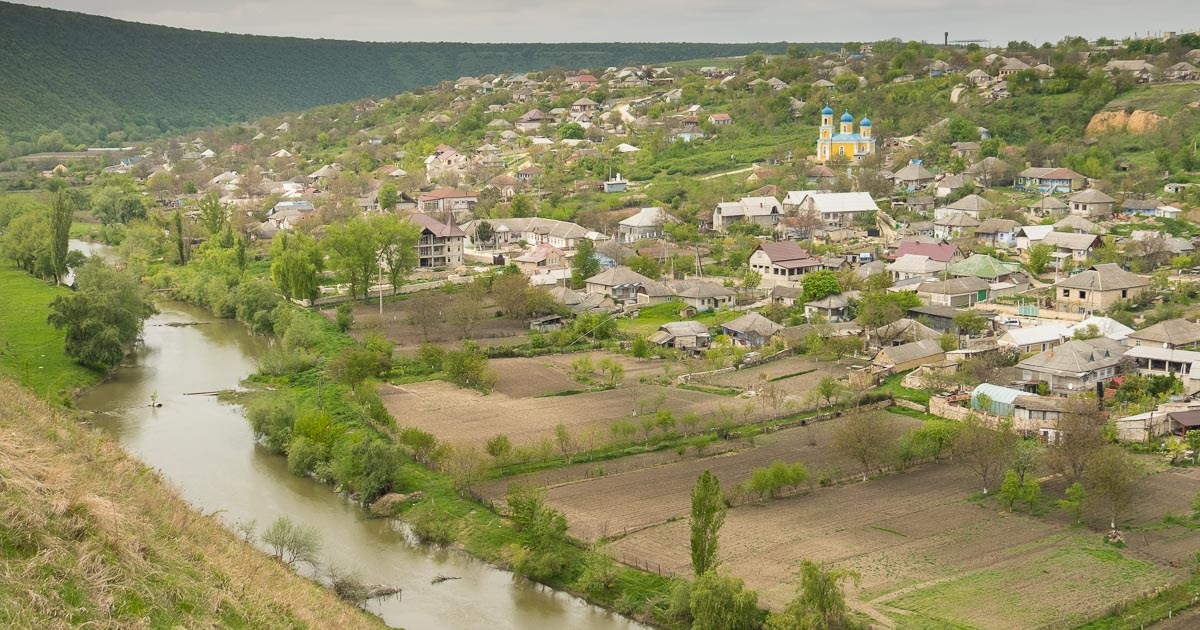 Trebujeni village, Raut river and Orthodox church, Moldova