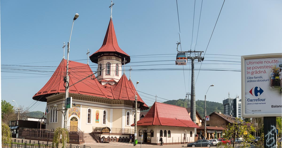 Piatra Neamt church and skiing cable car Rumania_