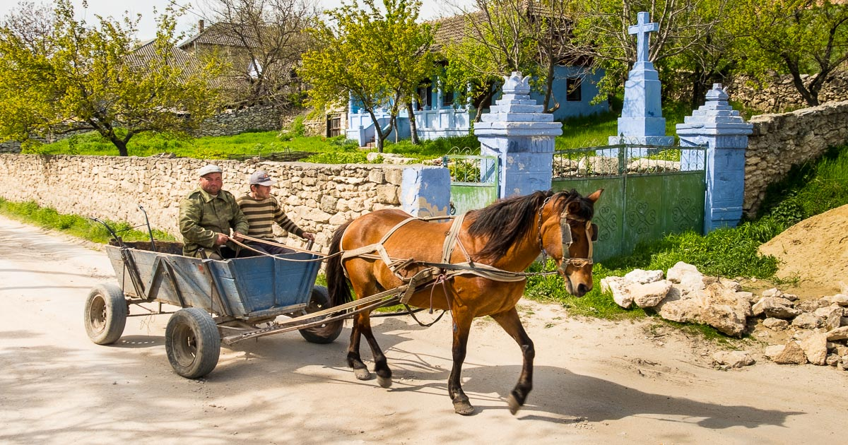 Orheiul Vechi horse and cart going to the fields, Moldova